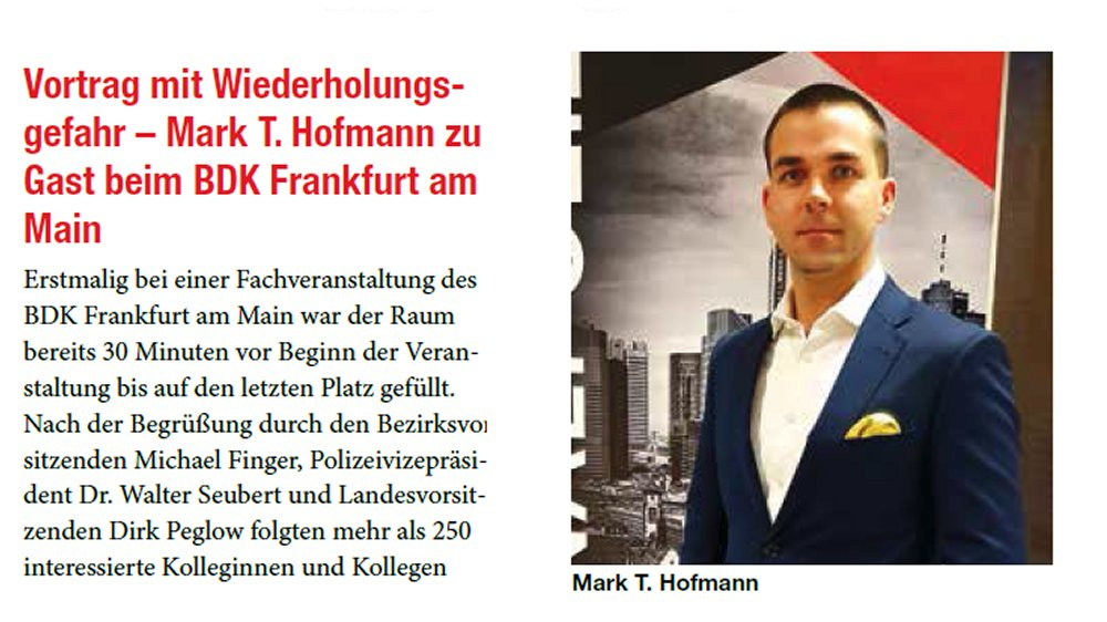 Nachbericht: Fachvortrag Polizeipräsidium Frankfurt (BDK Hessen)