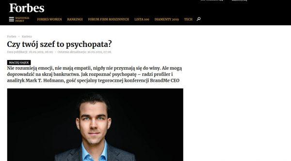 Forbes über Profiler Mark T. Hofmann