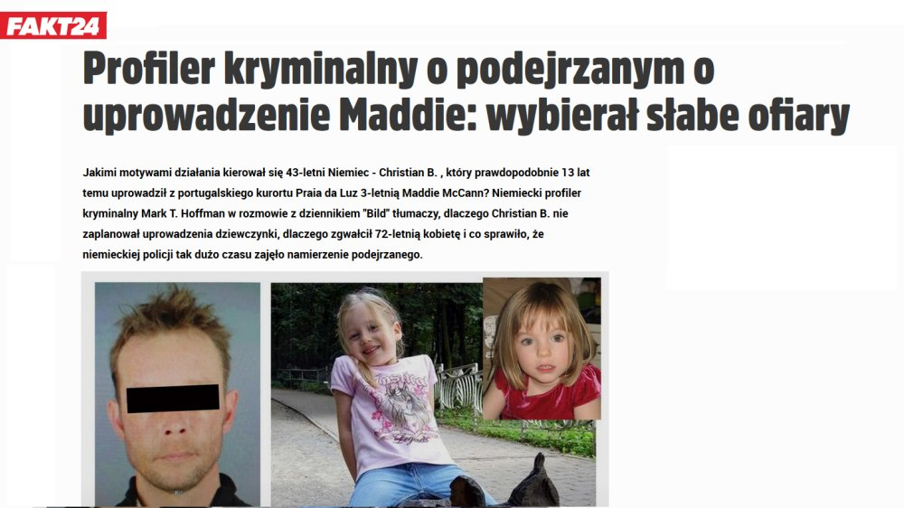 Criminal Profiler about Maddie McCann Case